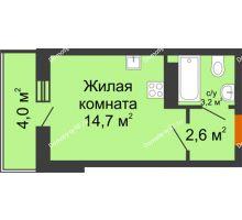Студия 22,5 м² в ЖК Самолет 2, дом Литер 4 - планировка