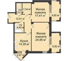 2 комнатная квартира 89,16 м², ЖК С видом на Небо! - планировка