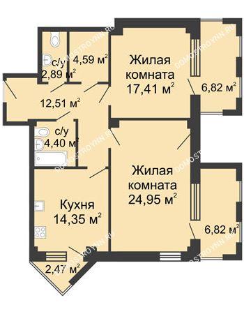 2 комнатная квартира 89,16 м² - ЖК С видом на Небо!
