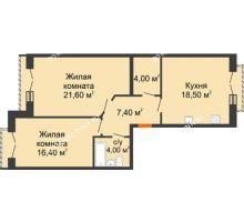 2 комнатная квартира 71,9 м², Жилой дом: г. Дзержинск, ул. Кирова, д.12 - планировка