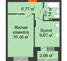 1 комнатная квартира 38,43 м² в ЖК Мандарин, дом 1 позиция 1,2 секция - планировка
