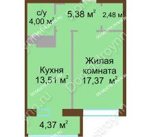 1 комнатная квартира 44,93 м² в ЖК Дворянский, дом № 1 - планировка