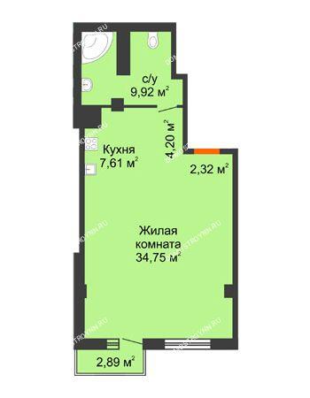 Студия 59,67 м² в ЖК Renaissance (Ренессанс), дом № 1