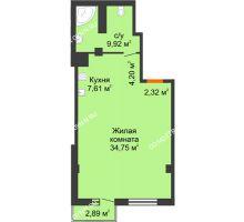 Студия 59,67 м² в ЖК Ренессанс, дом № 1 - планировка