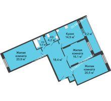 3 комнатная квартира 107,9 м² в ЖК Монолит, дом № 89, корп. 3 - планировка