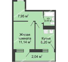 1 комнатная квартира 32,38 м² - ЖК Центральный-2