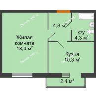1 комнатная квартира 39,2 м² в Микpopaйoн  Преображенский, дом № 22.3 - планировка