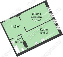 1 комнатная квартира 56 м² в ЖК Славянский квартал, дом № 188 - планировка