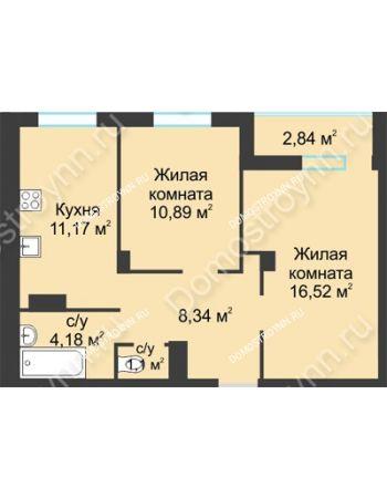 2 комнатная квартира 55,04 м² в ЖК На Вятской, дом № 3 (по генплану)