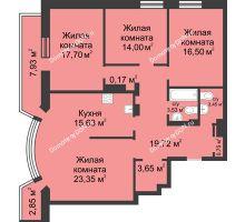 4 комнатная квартира 127,95 м², ЖК Петровская Крепость - планировка