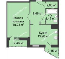 1 комнатная квартира 49,39 м² - ЖК Сергиевская Слобода