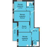 3 комнатная квартира 93,1 м² в ЖК Современник, дом Позиция 7 - планировка