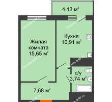 1 комнатная квартира 39,22 м² в ЖК Галактика, дом Литер 1 - планировка