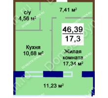 1 комнатная квартира 46,39 м², Жилой дом Приокский - планировка