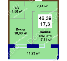 1 комнатная квартира 46,89 м², Жилой дом Приокский - планировка