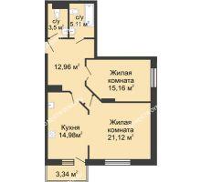 2 комнатная квартира 72,83 м² в ЖК Высоково, дом № 3 - планировка