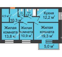 2 комнатная квартира 57,7 м², Жилой дом по ул. Львовская, 33а - планировка