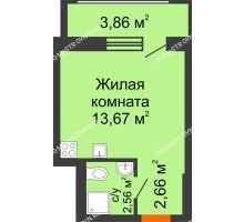 Студия 18,89 м² в ЖК Москва Град, дом 60/1 - планировка