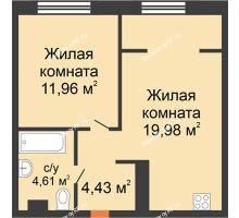 """2 комнатная квартира 40,98 м² в ЖК Европейский берег, дом ГП-9 """"Дом Монако"""" - планировка"""