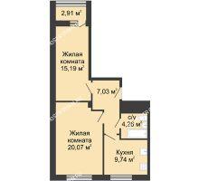 2 комнатная квартира 59,2 м² - ЖК Алый Парус