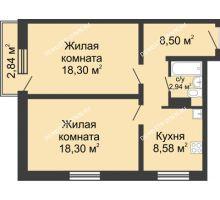 2 комнатная квартира 57,47 м² в ЖК Мончегория, дом № 3 - планировка