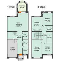 4 комнатная квартира 190 м² в КП Северная Гардарика, дом таунхаусы 190 м² - планировка