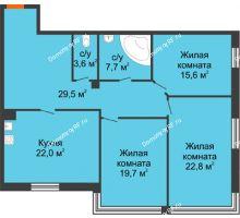 3 комнатная квартира 120,9 м², Клубный дом Green Вита (Грин Вита) - планировка
