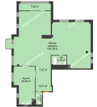 1 комнатная квартира 174,68 м² в ЖК Renaissance (Ренессанс), дом № 1 - планировка