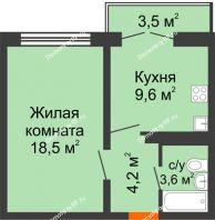 1 комнатная квартира 37,1 м² в ЖК Задонье, дом Позиция 2 - планировка