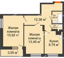 2 комнатная квартира 59,77 м² в ЖК Виктория, дом № 52 - планировка