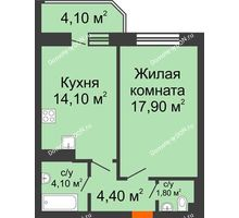 1 комнатная квартира 44,7 м² в ЖК Звездный, дом № 6