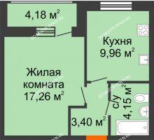1 комнатная квартира 38,95 м² в ЖК Подкова на Гагарина, дом № 2