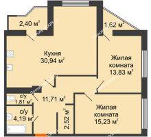 2 комнатная квартира 84,25 м² в Микрорайон Красный Аксай, дом Литер 21