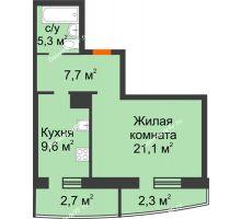 1 комнатная квартира 48,7 м² в ЖКСпутник, дом Позиция 4 - планировка