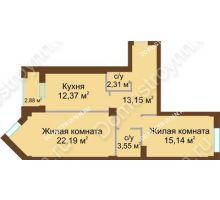 2 комнатная квартира 69,2 м² - ЖК Грани