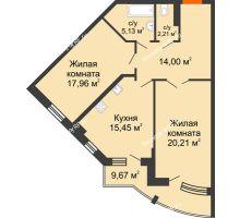 2 комнатная квартира 79,79 м² в ЖК Краснодар Сити, дом Литер 3 - планировка