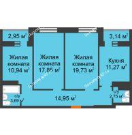 3 комнатная квартира 86,11 м² в ЖК Сокол, дом 5 очередь 10,11 секции - планировка