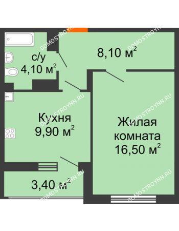 1 комнатная квартира 40,3 м² в ЖК Цветы, дом № 6-2