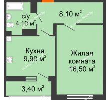 1 комнатная квартира 40,3 м² в ЖК Цветы, дом № 6-2 - планировка