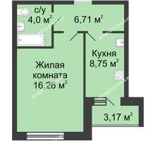 1 комнатная квартира 37,31 м² в ЖК Удачный, дом № 3