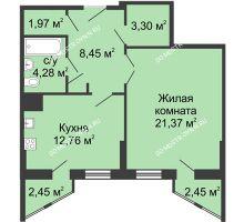 1 комнатная квартира 53,6 м² - ЖК Сергиевская Слобода
