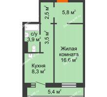 1 комнатная квартира 43,3 м² в ЖК на Калинина, дом № 2.1 - планировка