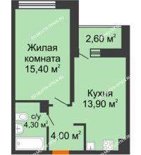 1 комнатная квартира 38,9 м² в ЖК Заречье, дом № 6 - планировка