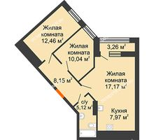 2 комнатная квартира 62,54 м² в ЖК Дом на Набережной, дом № 1 - планировка