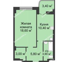 1 комнатная квартира 43,4 м², ЖК 8 марта - планировка