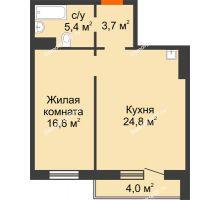 2 комнатная квартира 52,5 м² в ЖК на Калинина, дом № 2.1 - планировка