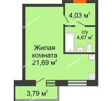 Студия 30,39 м² в ЖК Заречный, дом ГП-49 - планировка