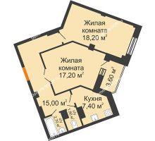 2 комнатная квартира 64,2 м² в ЖК Манхэттен О2, дом Дом 2 - планировка