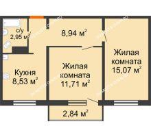 2 комнатная квартира 48,05 м² в ЖК Торпедо, дом № 19 - планировка