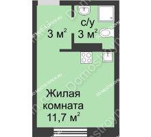 Студия 17,7 м² в ЖК Мега, дом № 2 - планировка
